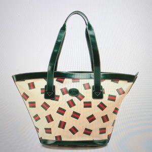 RARE Vintage Gucci Web Stripe Print Bucket Tote